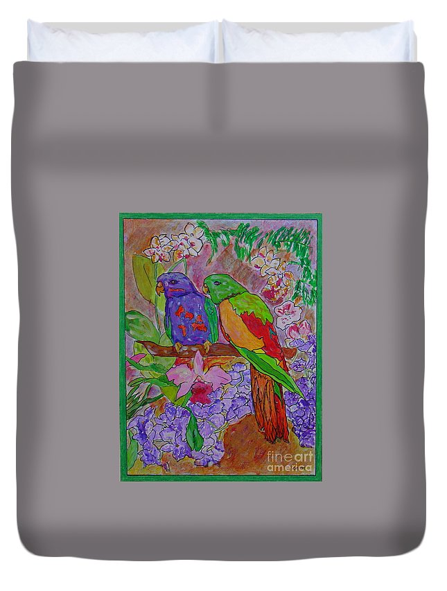 Tropical Pair Birds Parrots Original Illustration Leilaatkinson Duvet Cover featuring the painting Nesting by Leila Atkinson