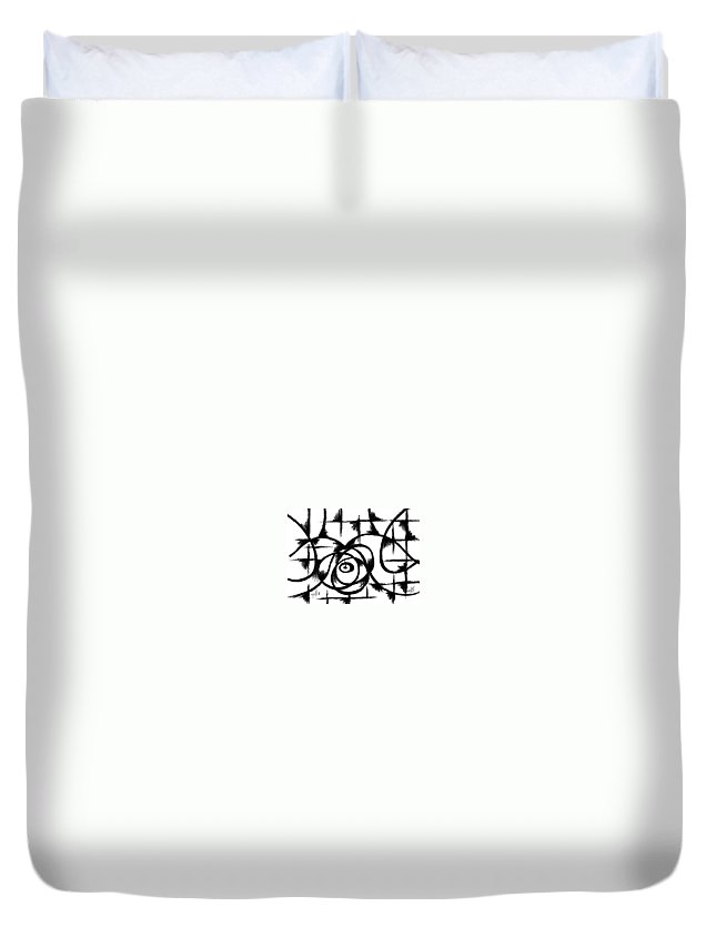 Modernist - Contemporany Duvet Cover featuring the drawing Nestle II by Arides Pichardo