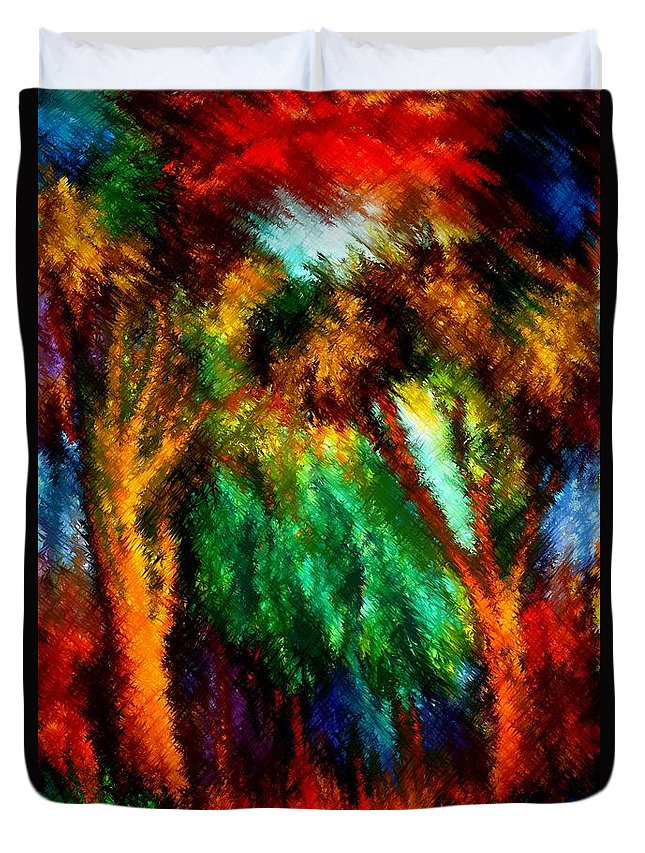 Forest Duvet Cover featuring the painting net by Rafi Talby
