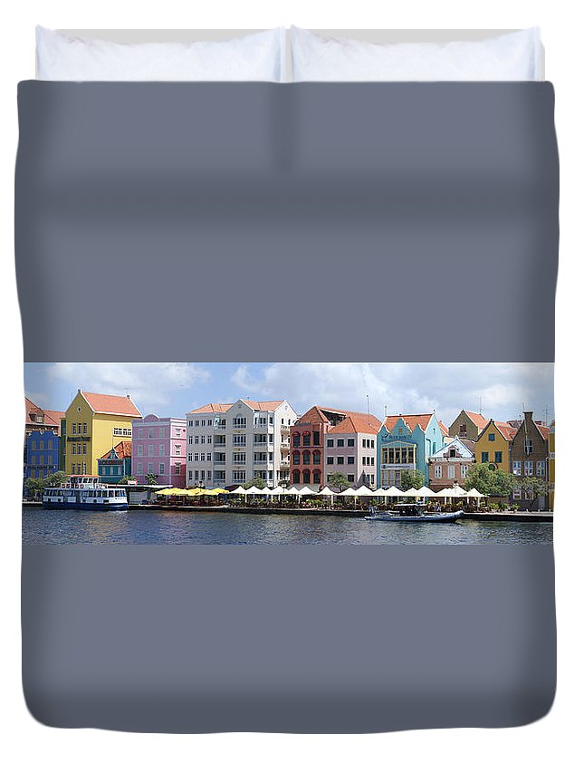 Main Street Duvet Cover featuring the photograph Netherlands Antilles by Heather Coen