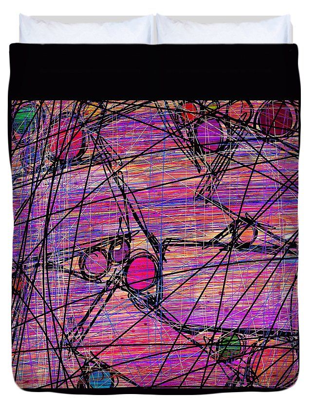 Abstract Duvet Cover featuring the digital art Networking by Rachel Christine Nowicki