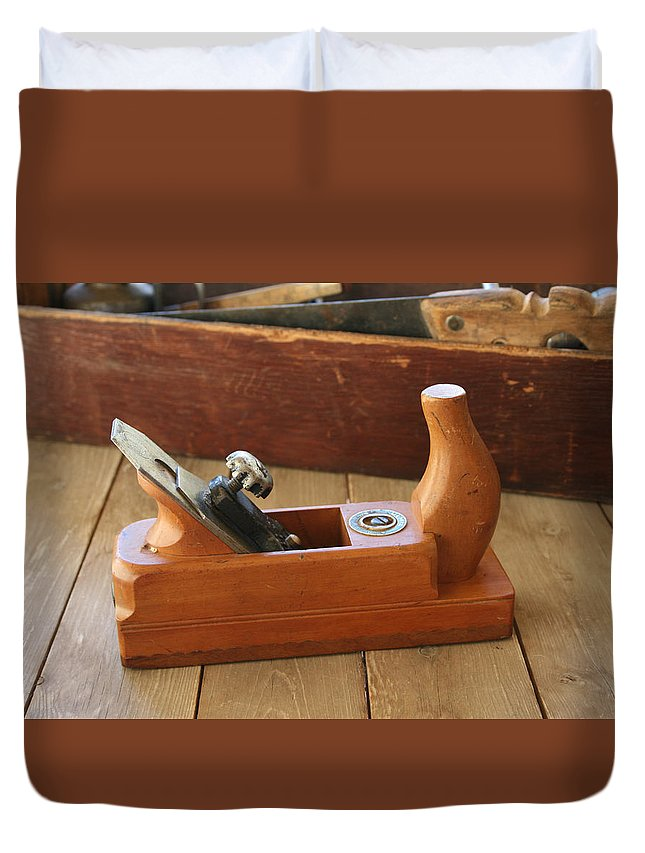 Tool Duvet Cover featuring the photograph Neuenfeld Wood Plane by Marna Edwards Flavell