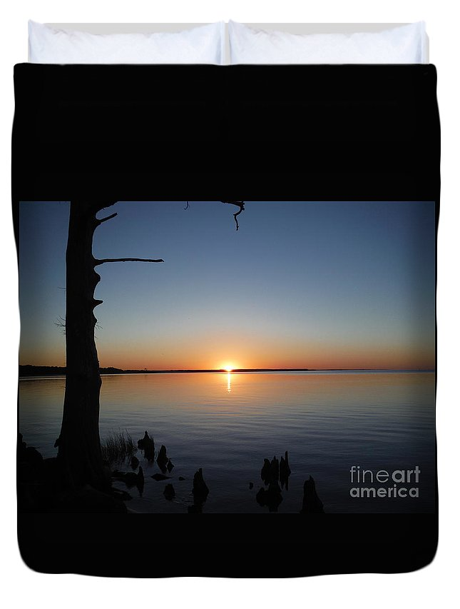 Sunset Duvet Cover featuring the photograph Neuse River Sunset 1 by Sharon Bowling