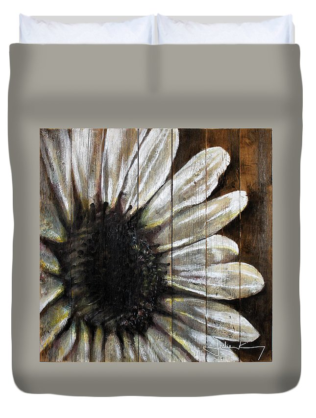 Sunflower Duvet Cover featuring the painting Neutral Sunflower by Leslie Kinney
