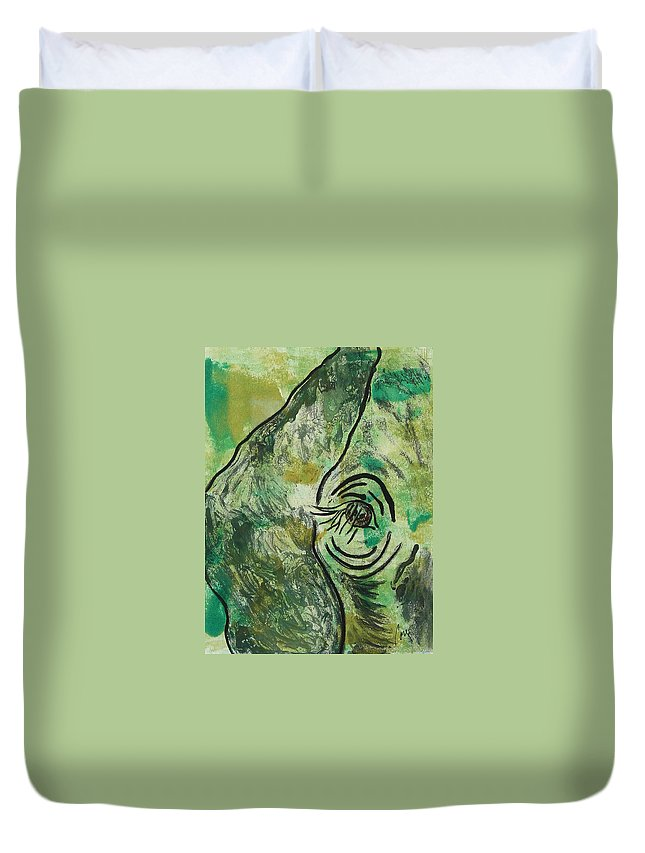 Monotype Duvet Cover featuring the mixed media Never Forgotten by Cori Solomon