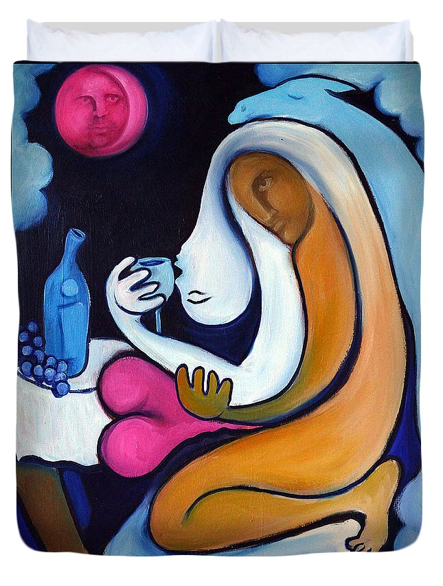 Abstract Duvet Cover featuring the painting Never Tear Us Apart by Valerie Vescovi