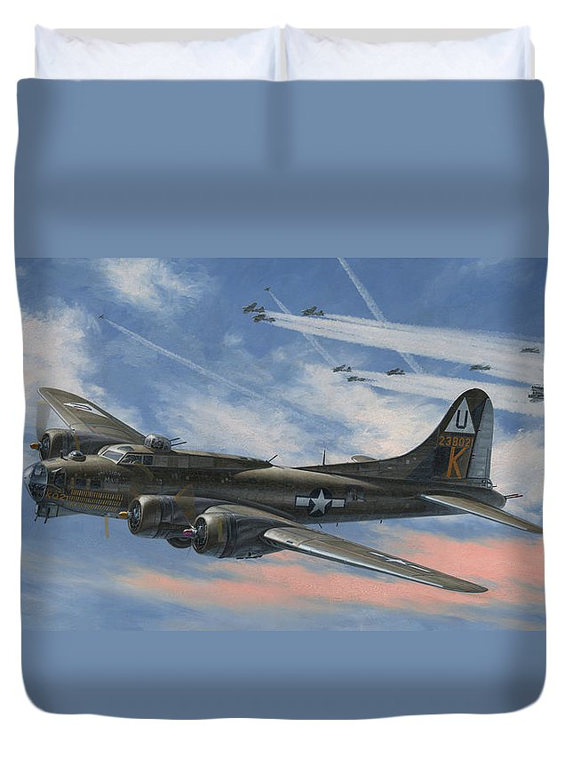 Boeing Duvet Cover featuring the painting Never Turned Back by Wade Meyers