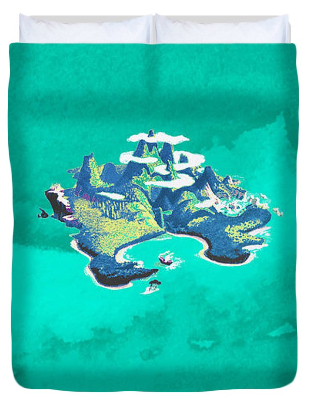 Neverland Duvet Cover featuring the painting Neverland Watercolor by Theresa Greenwell