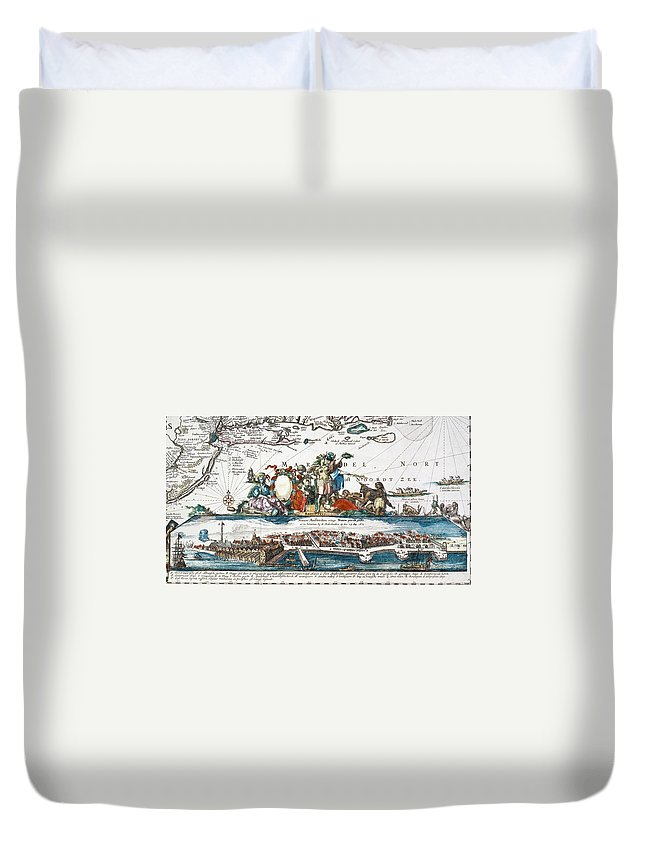 1673 Duvet Cover featuring the photograph New Amsterdam, 1673 by Granger