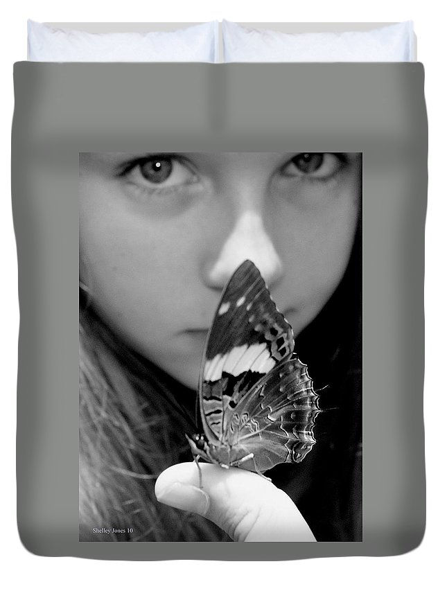 Black And White Photography Duvet Cover featuring the photograph New Beginning by Shelley Jones