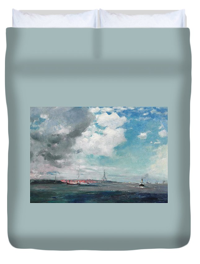 Seascape Duvet Cover featuring the painting New Brighton From The Mersey by JH Hay