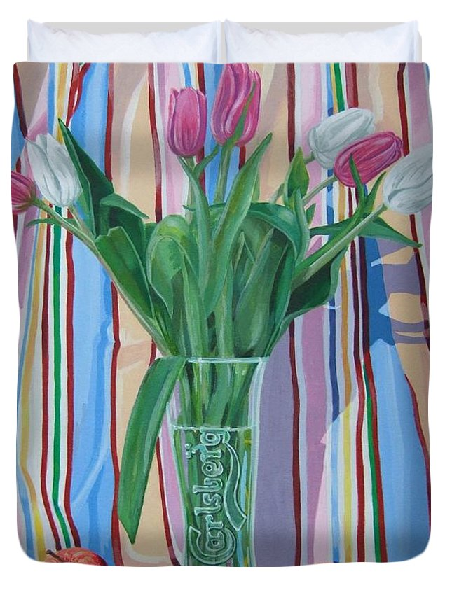 Floral Duvet Cover featuring the painting New Dawn by Michael McEvoy