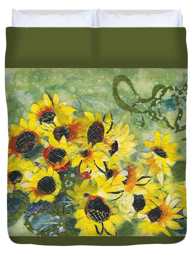 Sunflowers. Yellow Duvet Cover featuring the painting New Dawn by Nira Schwartz