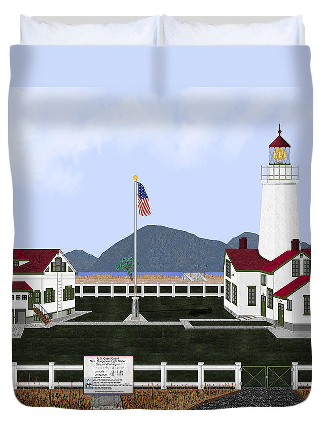 Lighthouse Duvet Cover featuring the painting New Dungeness Lighthouse At Sequim Washington by Anne Norskog