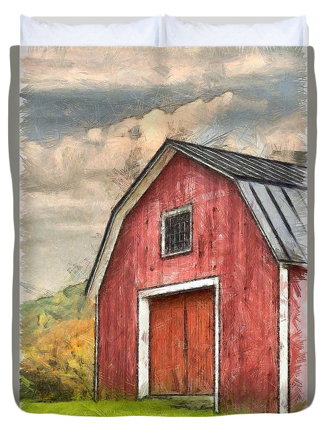 New england red barn pencil duvet cover for sale by edward for New england barns for sale
