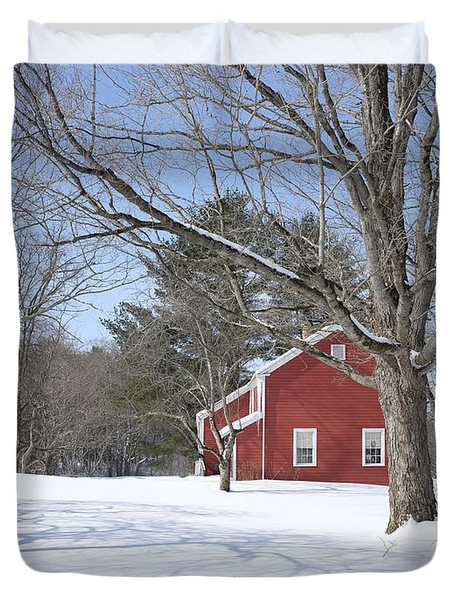 Winter Duvet Cover featuring the photograph New England Red House Winter by Edward Fielding