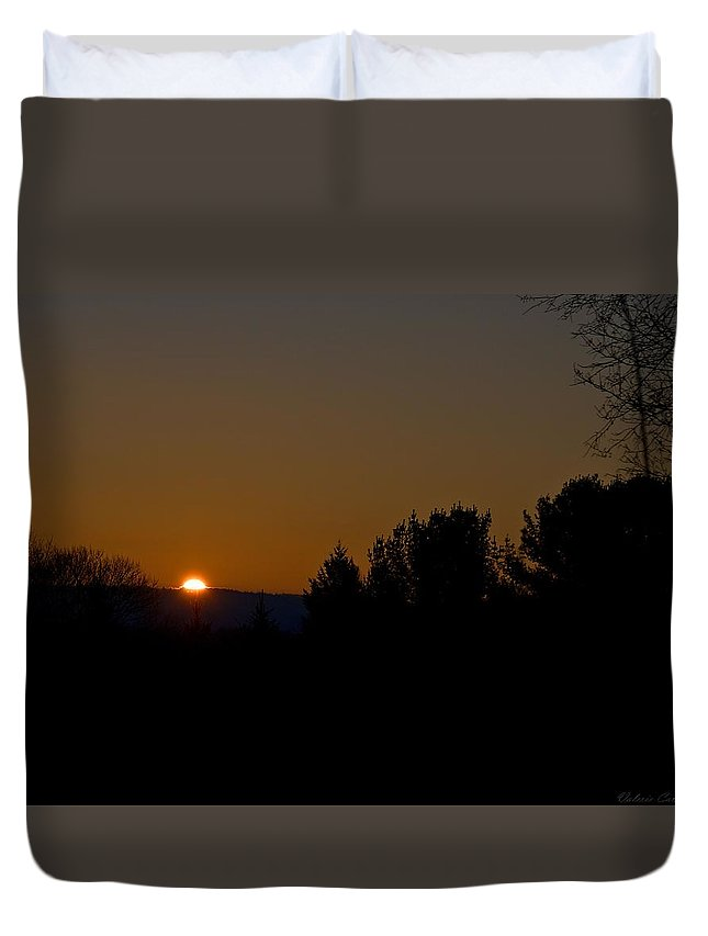 Sun Duvet Cover featuring the photograph New England Sunrise I by Valerie Cartier