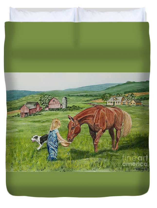 Country Kids Art Duvet Cover featuring the painting New Friends by Charlotte Blanchard