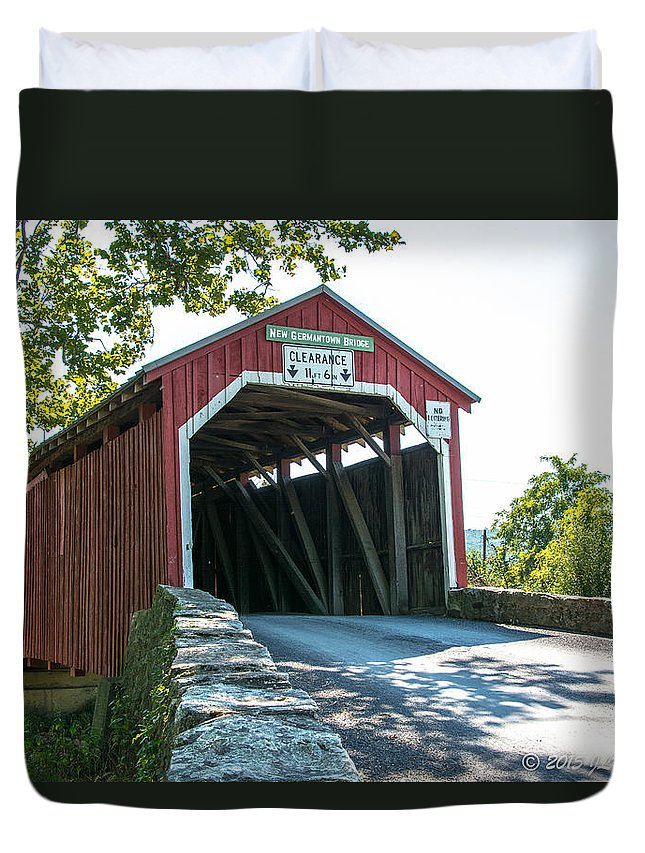 Bridge Duvet Cover featuring the photograph New Germantown Covered Bridge by Jennifer Wick