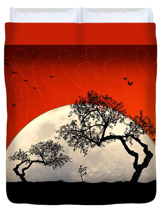 Moon Duvet Cover featuring the digital art New Growth New Hope by Holly Kempe