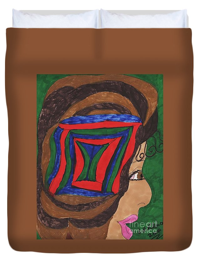 Gold And Brown Hair With A Colorful Embellishment In The Hair Duvet Cover featuring the mixed media New Hairdo New Look by Elinor Rakowski