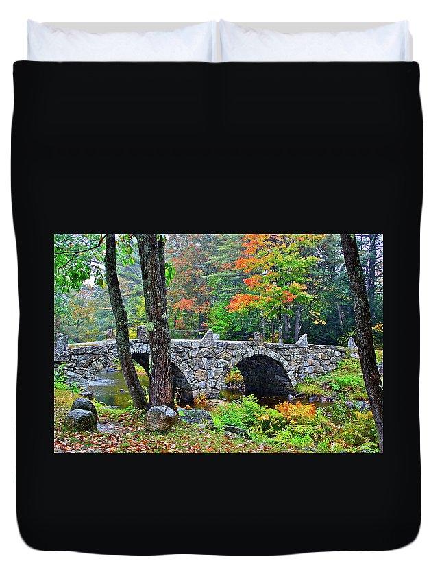 Bridge Duvet Cover featuring the photograph New Hampshire Bridge by Diana Hatcher