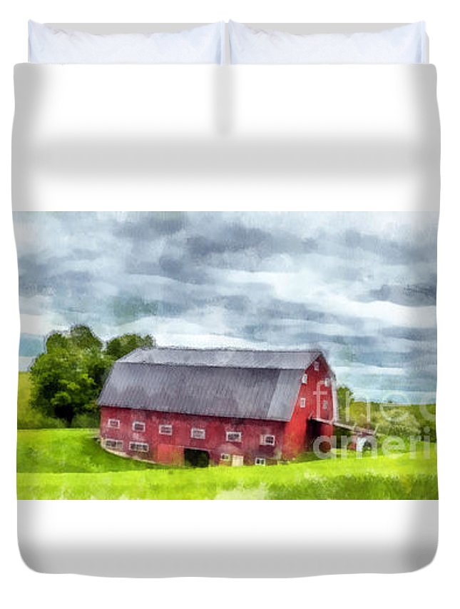 New Hampshire Duvet Cover featuring the photograph New Hampshire Landscape Red Barn Etna by Edward Fielding