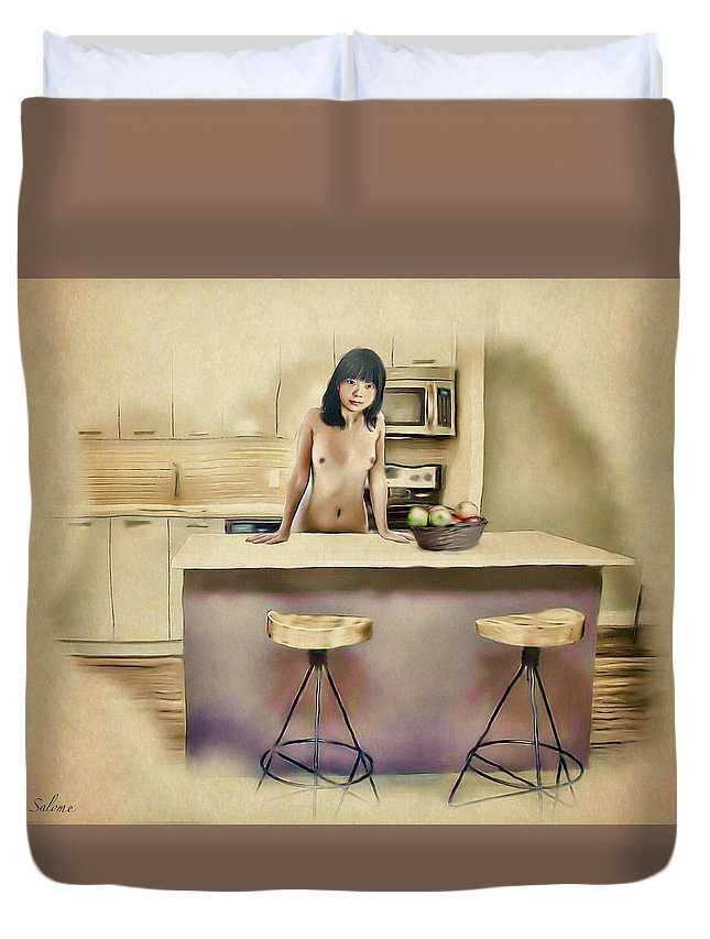 Salome Duvet Cover featuring the painting New Haven - Asian American Series by Salome Hooper