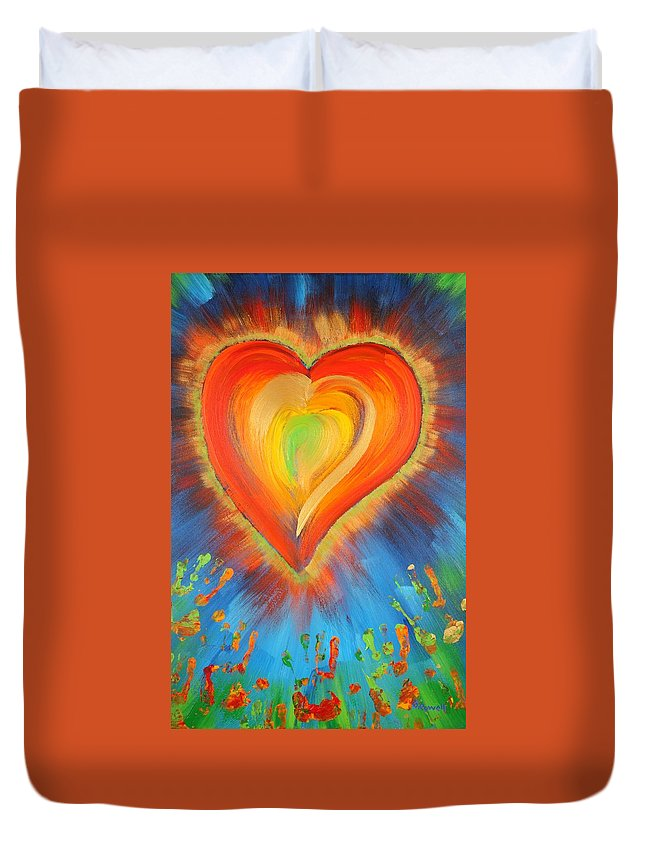 Heart Duvet Cover featuring the painting New Heart by Gary Rowell