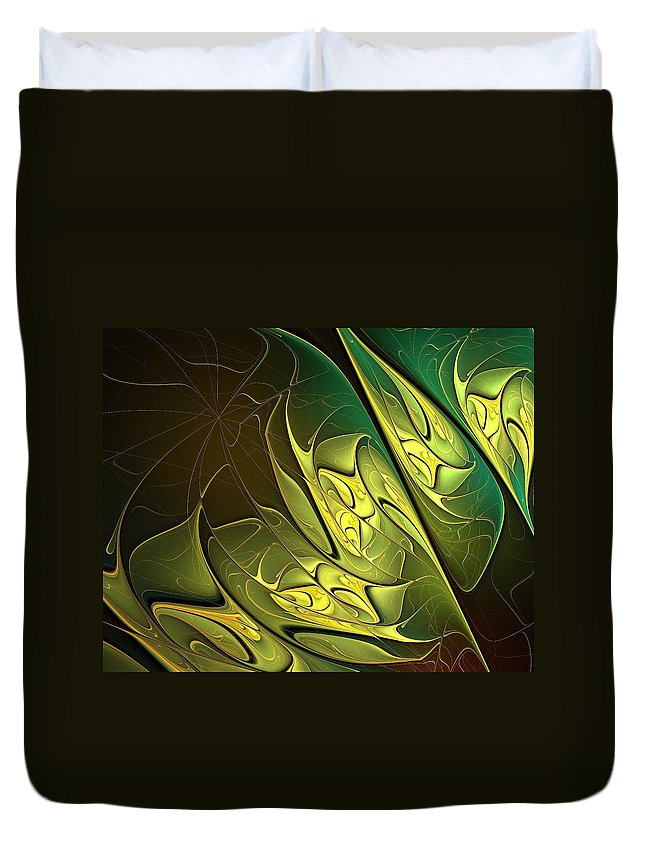 Digital Art Duvet Cover featuring the digital art New Leaves by Amanda Moore