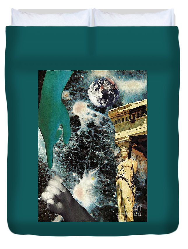 Space Duvet Cover featuring the mixed media New Life In Ancient Time-space by Sarah Loft