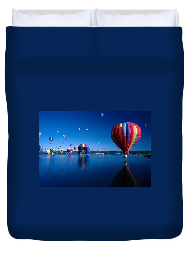 Hot Air Balloon Duvet Cover featuring the photograph New Mexico Hot Air Balloons by Jerry McElroy