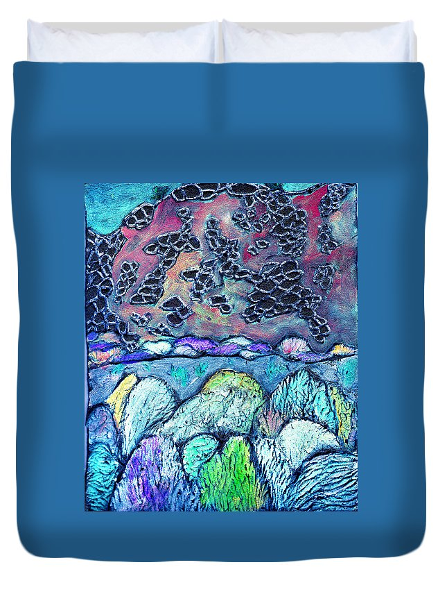 Landscape Duvet Cover featuring the painting New Mexico Landscape by Wayne Potrafka