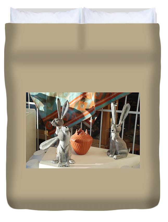 Rabbits Duvet Cover featuring the photograph New Mexico Rabbits by Rob Hans