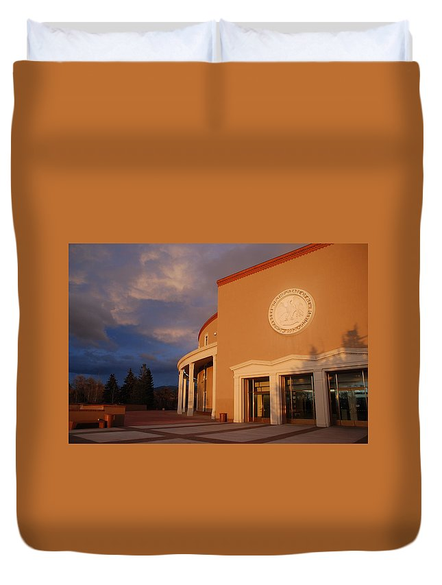 Architecture Duvet Cover featuring the photograph New Mexico State Capital Building by Rob Hans