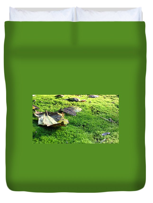 Leaves Duvet Cover featuring the photograph New Moss by Sarah Houser