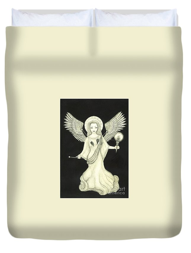 Wendy Duvet Cover featuring the drawing Love Spell by Wendy Wunstell