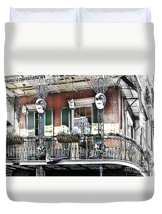 New Orleans Duvet Cover featuring the photograph New Orlean's Balcony by Irma Robin