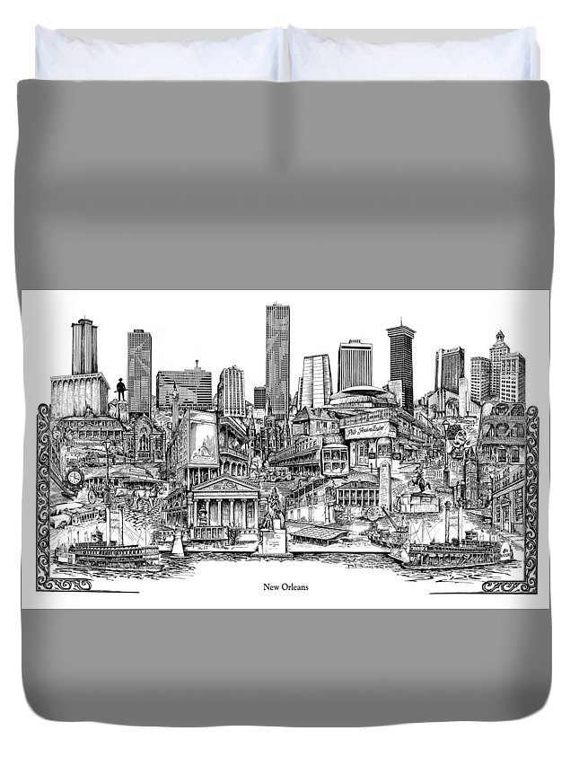 City Drawing Duvet Cover featuring the drawing New Orleans by Dennis Bivens