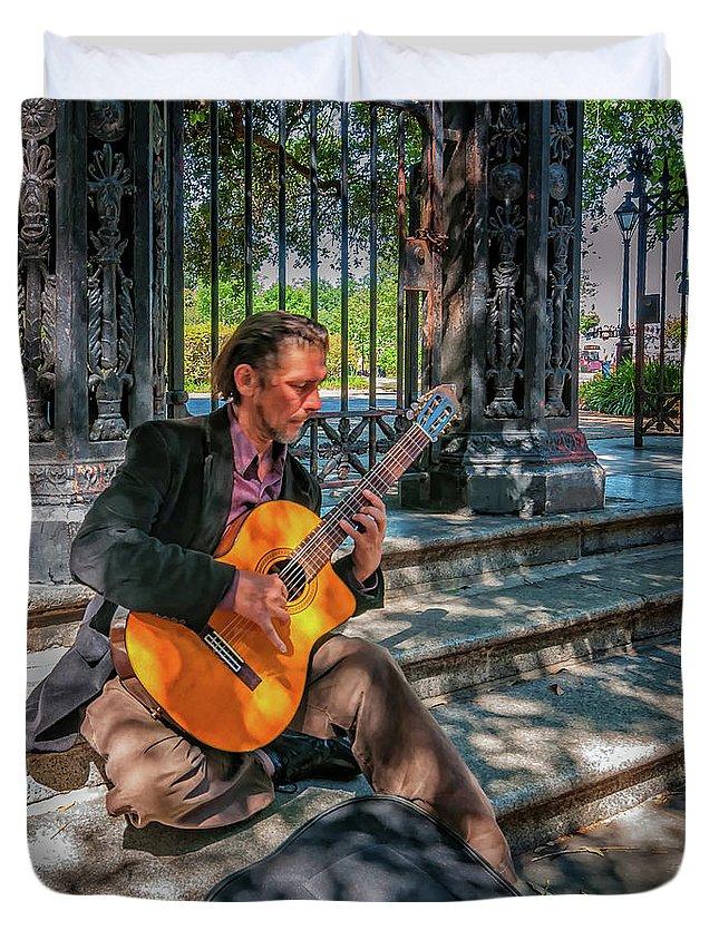 Jackson Square Duvet Cover featuring the photograph New Orleans Musician - Chris Craig by Steve Harrington
