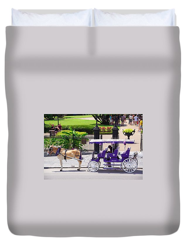 Royal Duvet Cover featuring the photograph New Orleans Royal Carriage by Southern Tradition