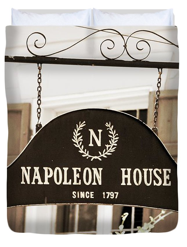 Historic Places Duvet Cover featuring the photograph New Orleans Sign - Napoleon House - Sepia by Carol Groenen