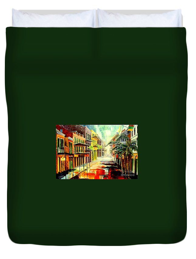 New Orleans Duvet Cover featuring the painting New Orleans Summer Rain by Diane Millsap