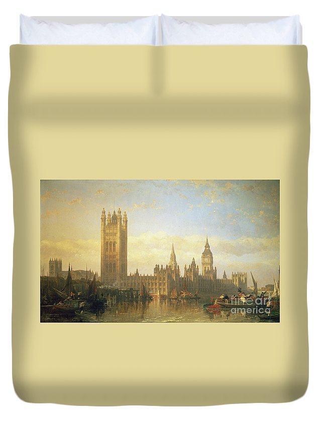 Big Ben Duvet Cover featuring the painting New Palace Of Westminster From The River Thames by David Roberts