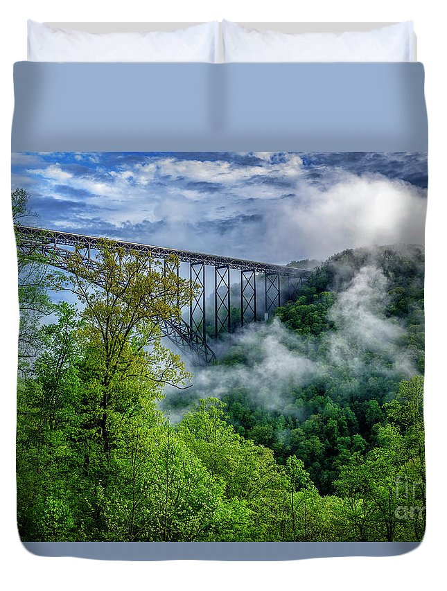 Usa Duvet Cover featuring the photograph New River Gorge Bridge Morning by Thomas R Fletcher