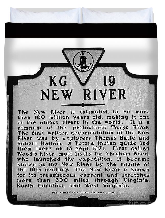 New River Duvet Cover featuring the photograph New River Historical Marker by Kerri Farley