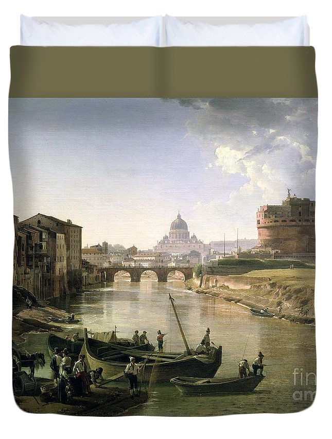 River Tiber Duvet Cover featuring the painting New Rome With The Castel Sant Angelo by Silvestr Fedosievich Shchedrin