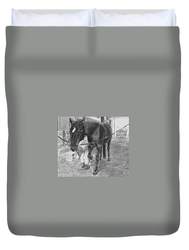 Horse Duvet Cover featuring the drawing New Shoes by Quwatha Valentine