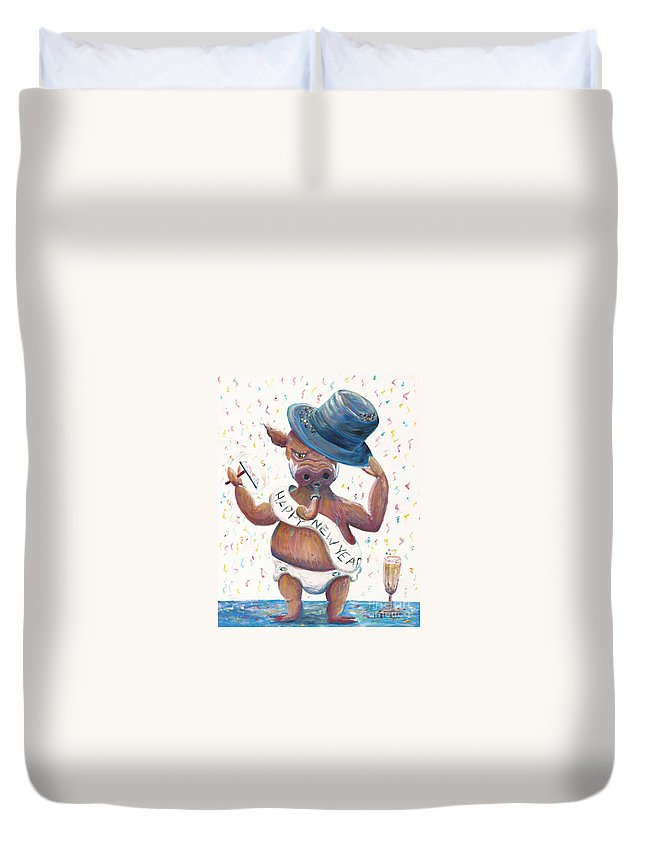 Hog Duvet Cover featuring the painting New Years Hog by Nadine Rippelmeyer