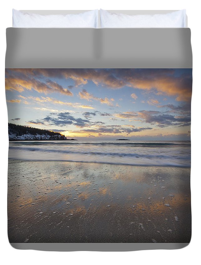 New Year's Duvet Cover featuring the photograph New Year's Morning On Sand Beach by Scott Bryson